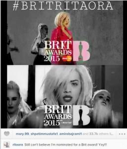 Rita Ora nominohet nga 'Brit Awards 2015'